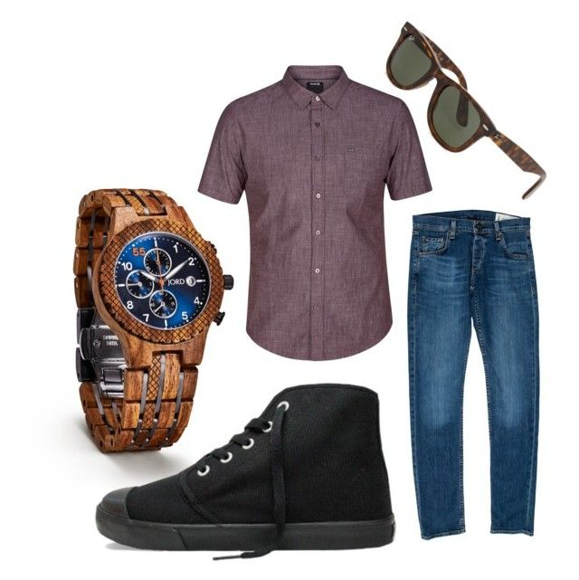 """""""Men's Spring Casual with Jord Wood Watches and Bangs Shoes"""" by donutsanddrama on Polyvore featuring Hurley, rag & bone, Ray-Ban, men's fashion and menswear"""
