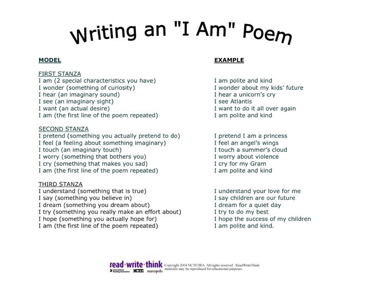 how to write a i am poem Introduction: how to write poetry am trying this my first poem, comment on it life is so simple yet complex with such chances yet unknown, you gave me.