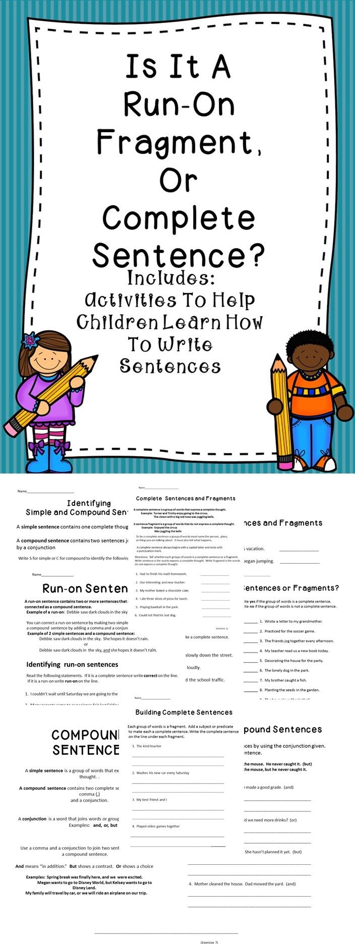 This is an activity book all about sentences.  This is a great resource to help students improve their writing skills. #writing