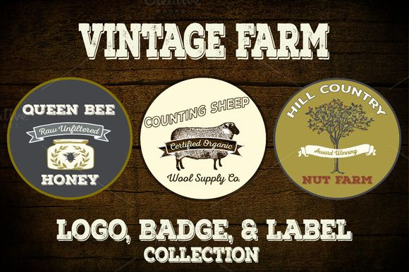 Check out Vintage Farm Logo Vectors & PNGs by Le Paper Cafe on Creative Market