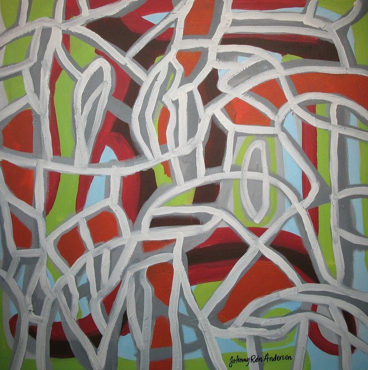 Maleri spring time 80x80 cm