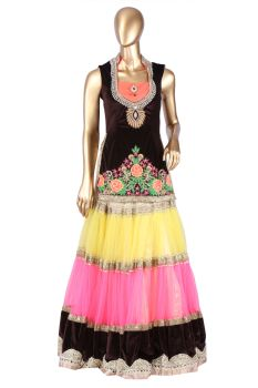 Brown Yellow Pink Net and Velvette Lehnga with Corset- Resham Thread and Stone work. Net and Velvette Lehnga