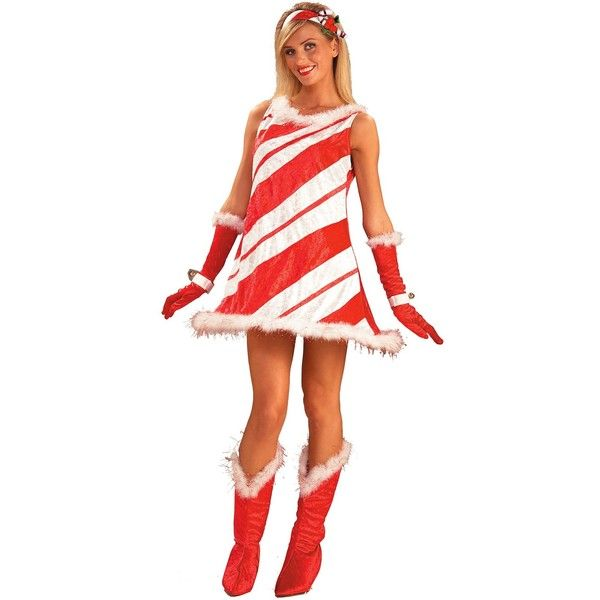Miss Candy Cane Adult Costume ($20) ❤ liked on Polyvore featuring costumes, costume, halloween costumes, belle halloween costume, adult belle costume, christmas halloween costume, adult costumes and holiday costumes