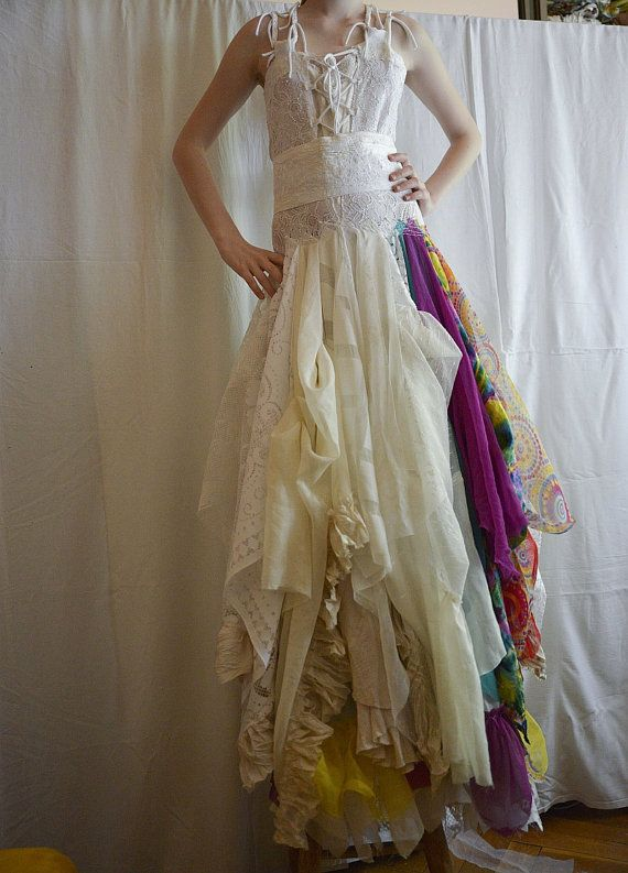 alternative upcycled wedding dress with pieces of hand