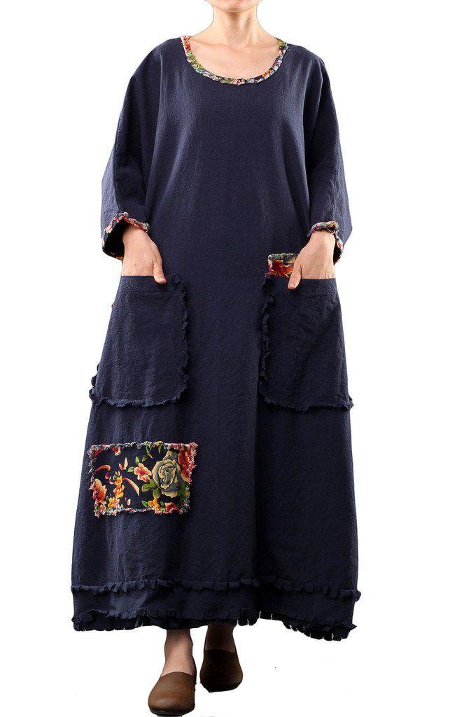 Mordenmiss Women's Long Sleeve Cotton Linen Dress Oversize Clothing 2015 Dark Blue at Amazon Women's Clothing store: