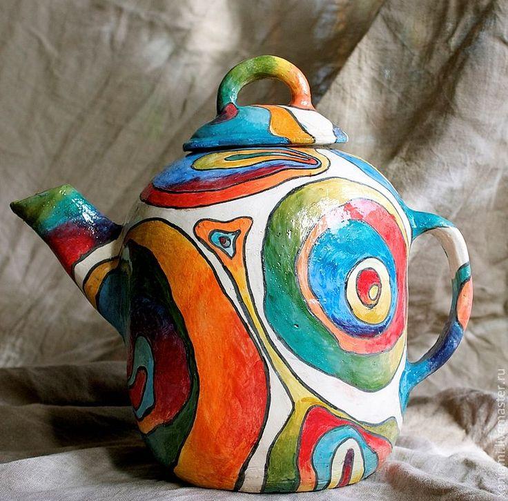 Купить Чайный сервиз - Чайник и чашки керамические лепные - Керамика, керамическая посуда, глиняная посуда