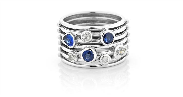 Unique wire ring with natural blue sapphires and diamonds. Michael Wilson Diamond Jewellers-Precious Coloured Stones