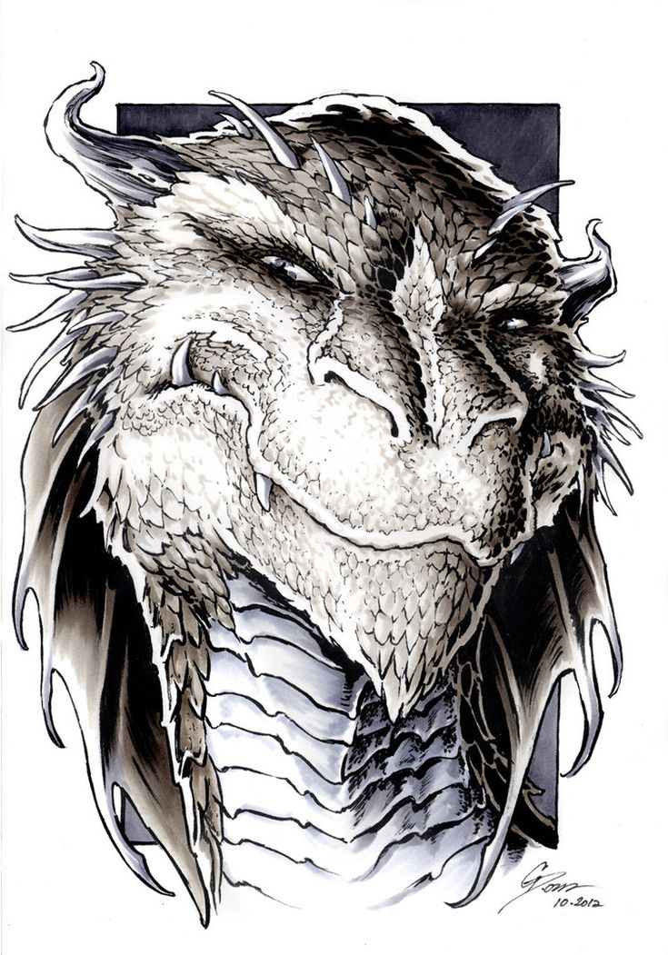 The Hobbit - Smaug Portrait by *DanielGovar on deviantART