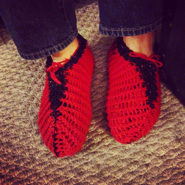 Knit men's slippers, done on a circular loom.