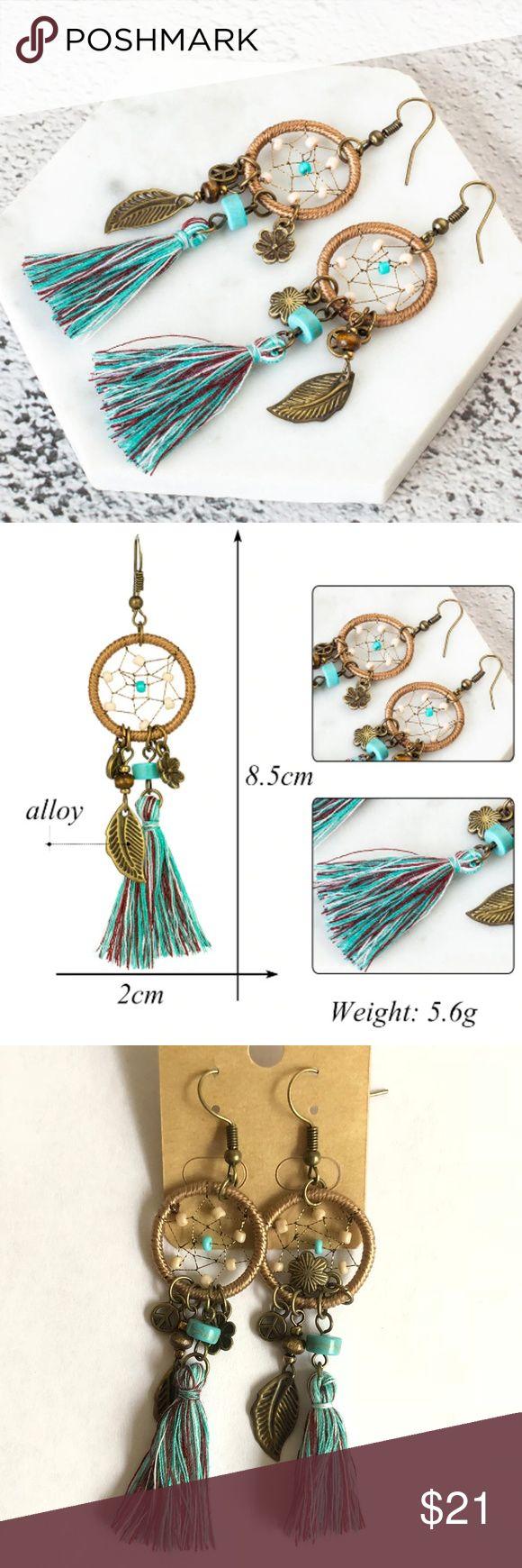 NEUE Boho Dreamcatcher Quaste Seide Ohrringe Kategorie: Modeschmuck Farbe: Blau …