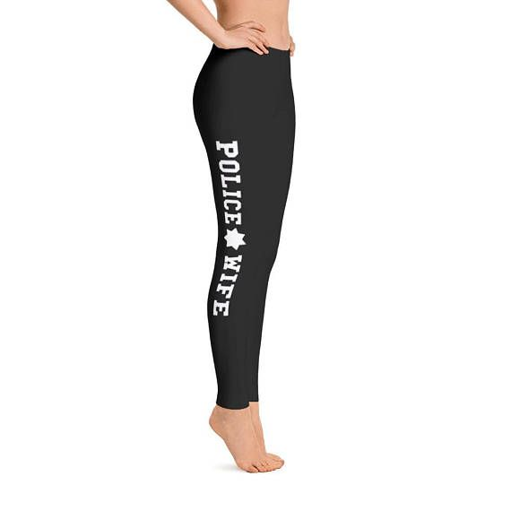 Police Wife Leggings with Seven Point Badge Star  Stylish, durable, and a hot fashion staple. These polyester/spandex leggings are made of a comfortable microfiber yarn, and theyll never lose their stretch. • Fabric is 82% polyester, 18% spandex • Four-way stretch  • Elastic waistband  •