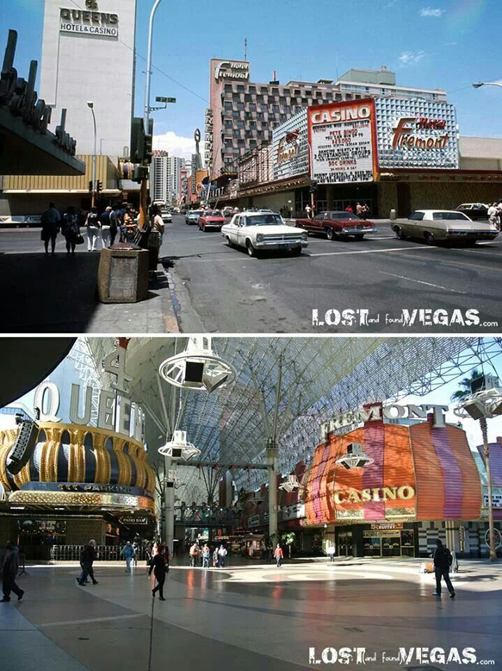 Vintage Lost Vegas before the Fremont Street canopy and after, from class to crass.