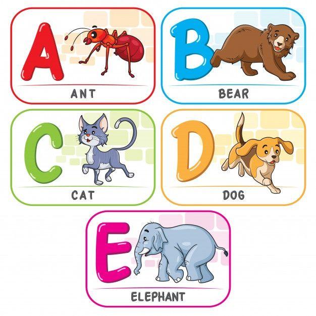 Animal Alphabet A B C D E In 2021 Animal Alphabet Alphabet For Kids Kids Education