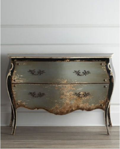Bombay chest put silver paint on sandpaper and faux distress along edges