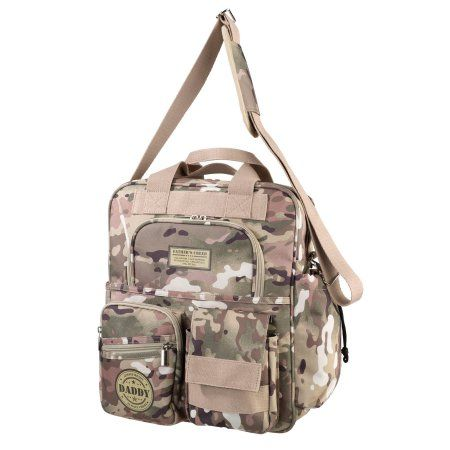 Lillian Rose Operational Camouflage Military Daddy Diaper Bag, Beige