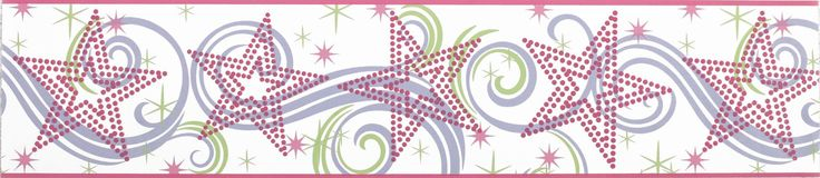"Room Mates Deco Star Glitter 15' x 6.75"" Scroll Border Wallpaper"