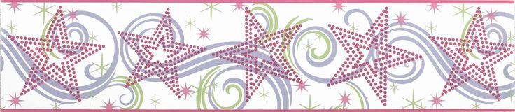"Room Mates Deco Star Glitter 15' x 6.75"" Scroll Border Wallpaper"