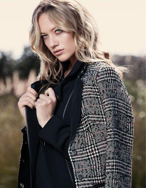 Check Collar Contrast Coat. Max Fashions