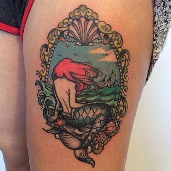 Neo Traditional Mermaid Tattoo: Framed Neo Traditional Mermaid Tattoo Via Raine