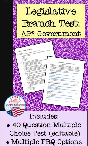 Ready-made test for AP® U.S. Government classes on the Legislative Branch- save hours of time!   AP® is a trademark registered by the College Board, which was not involved in the production of, and does not endorse, this product.