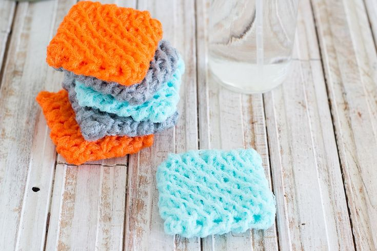 """You will no longer buy sponges after using these! Crocheted by hand, these scrubbers are durable and get the job done. After a few days, simply throw in the washing machine, and air dry. You will receive a set of 6 in all three colors (two in each color), or all in one color. machine washlet flat to dry3 1/2"""" x 3 1/2"""""""
