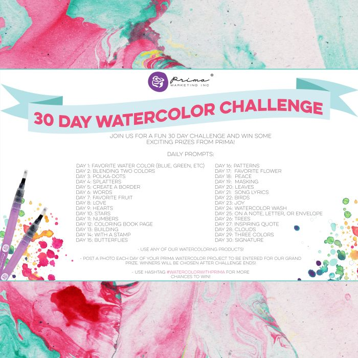 Watercoloring is HUGE and we have so many products that help you color beautifully! Come join us for Prima's 30 Day Watercolor Challenge, get your watercolor mojo going, and win some exciting prizes from Prima! #watercolor #30daychallenge