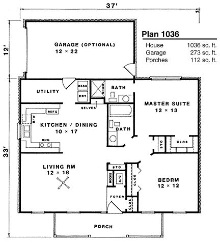 Take Out Utility Area And Expand Kitchen ~ 1036 Sq Ft, 2 Bed, 2 Bath.  Elongate The Garage To Make A Perfect Production Room/shop Or Storage With  Large ...