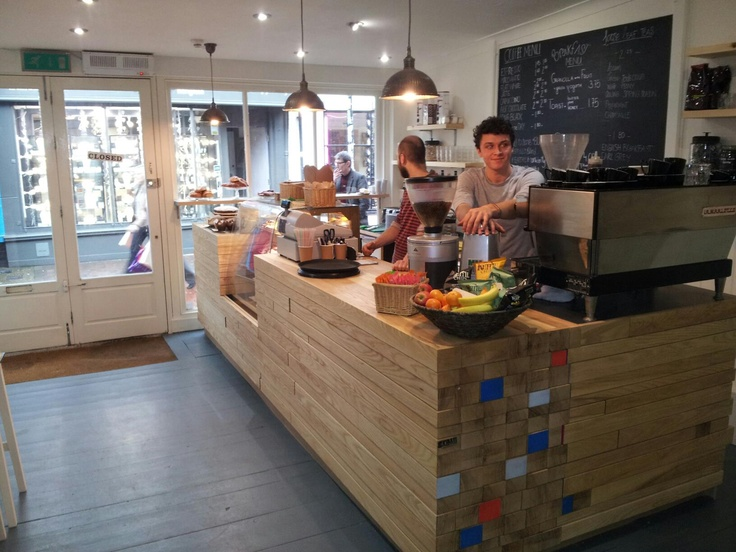 Timber stack coffee counter.