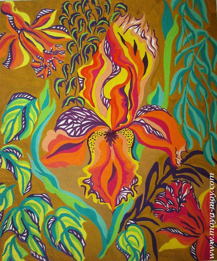 Textile motif design by Angela Kurnia. Color guache. #prints #textiledesign #art #painting #designer #flower #orchid #decorative #placementprint