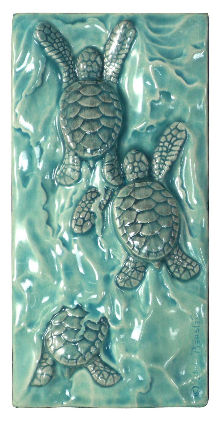 Ceramic art tiles Baby sea turtle triptych by MedicineBluffStudio