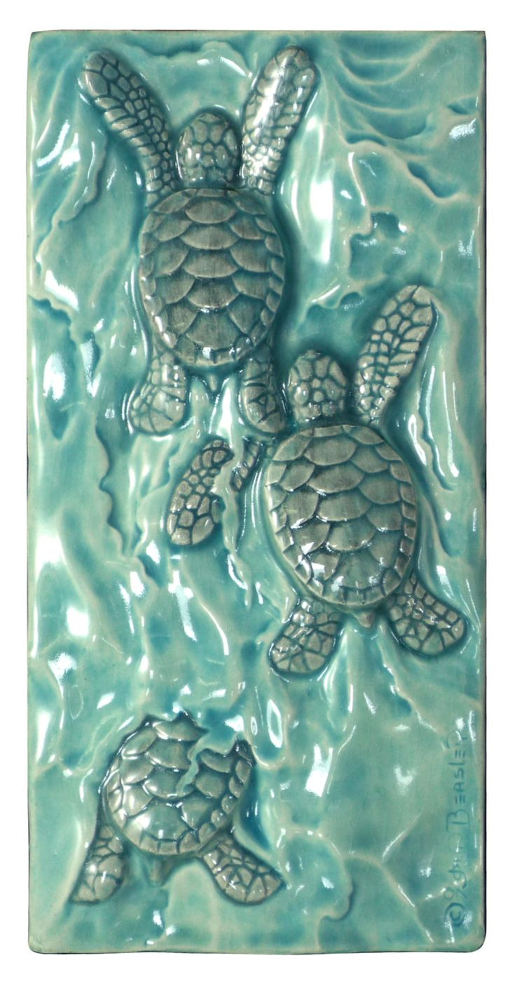 Ceramic art tiles Baby sea turtle triptych by MedicineBluffStudio