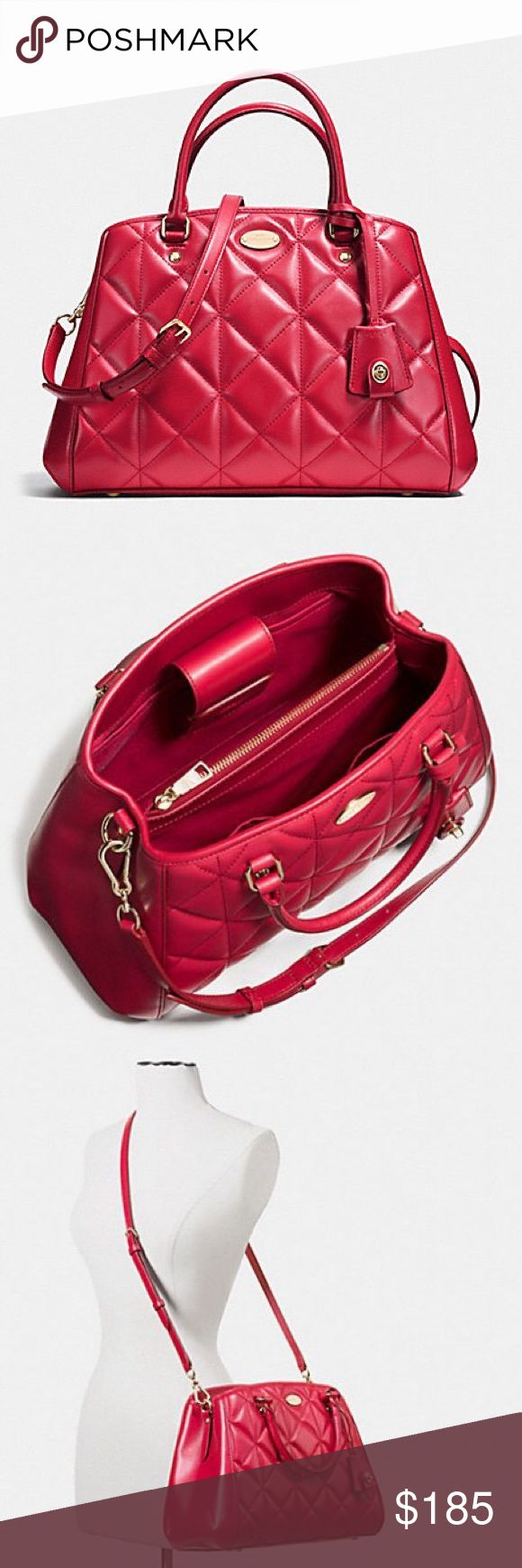 """New Coach quited small margot carryal satchel $495 New, never worn. Measure: 13""""L x 9""""H x 4.5""""W Coach Bags Satchels"""