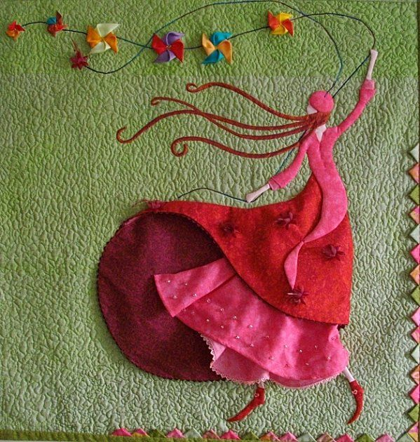 Hot pink and red dress + tiny pinwheel kites + prairie points