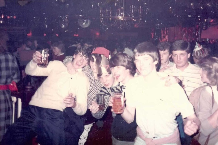 New Years Eve at Coasters. Brighton '83 - Fran, me, Andy and Graeme.