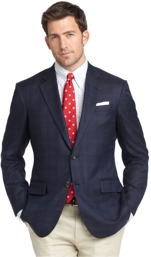 $224, Navy Plaid Blazer: Brooks Brothers Madison Fit Plaid Sport Coat. Sold by Brooks Brothers. Click for more info: https://lookastic.com/men/shop_items/1513/redirect