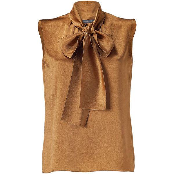 ALBERTA FERRETTI Metallic Gold Tie Neck Silk Top featuring polyvore fashion clothing tops blouses shirts blusas silk tie neck blouse brown neck tie silk shirt sleeveless silk blouse neck ties