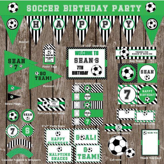 Soccer Birthday Party Set Soccer Birthday by RedPoppyArtDesigns