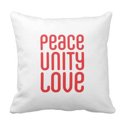 PEACE UNITY LOVE  Polyester Throw Pillow - decor gifts diy home & living cyo giftidea