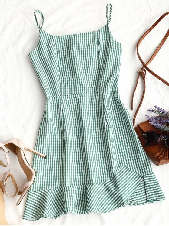 Back Zip Checked Ruffles Mini Dress
