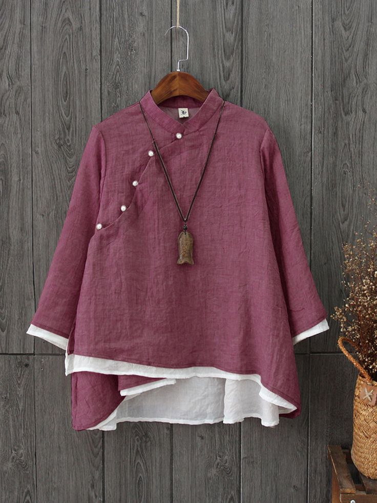 [Up to 59% off]Vintage Mandarin Collar Long Sleeve Two Layers Women Blouses.