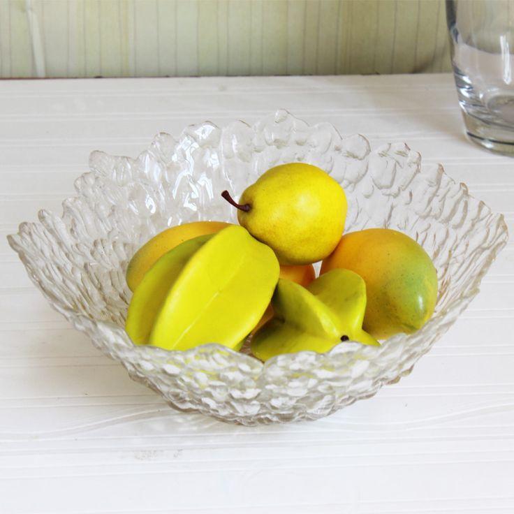 Tazón de vidrio en relieve plato de fruta plato de frutas de vidrio tazón de hielo de frutas verduras cuenca decoración de la cocina(China (Mainland))