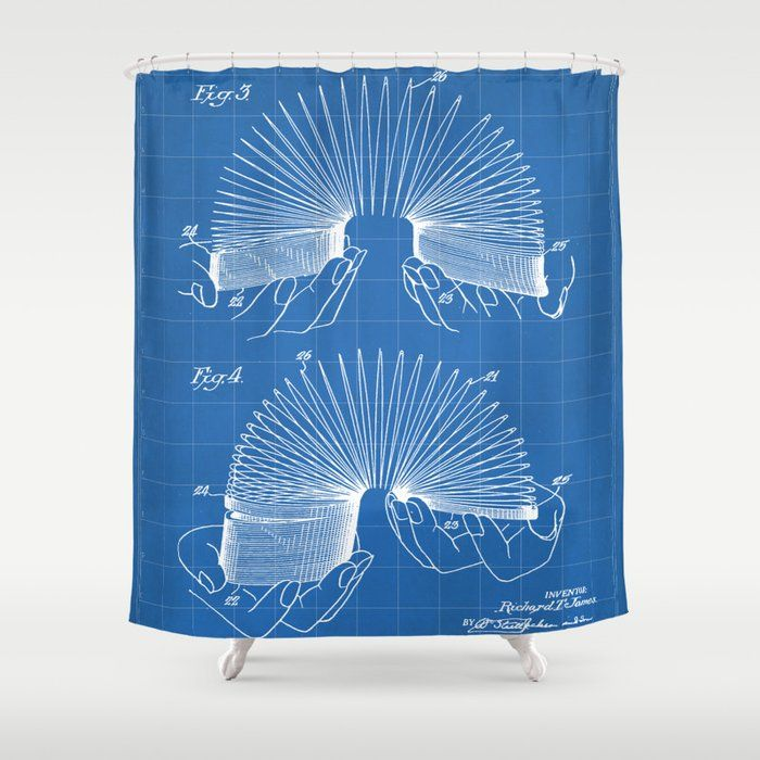Slinky Patent Slinky Toy Art Blueprint Shower Curtain By