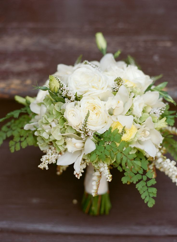 Ivory, Pale Yellow and Shades of Green -- Beautiful Wedding Bouquet by LilyAndCompany.wordpress.com/ On SMP: http://www.StyleMePretty.com/2014/05/22/modern-meets-rustic-in-wyoming/ - Photography: CarriePattersonPhotography.com