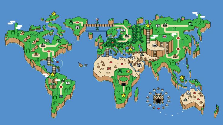 A Super Mario Bros. take on the world map: | 38 Maps You Never Knew You Needed