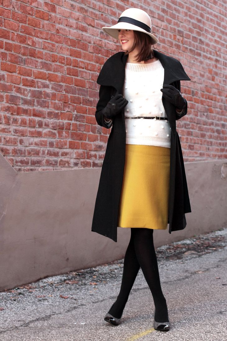 Mustard, ivory, & black- (fun link)!  How to wear a hat, What to wear with a floppy hat, 1930s inspired style, Upstairs Downstairs, What I Wore, @Jessica Quirk | What I Wore, Fashion Blog, Fashion Blogger, Gorrin Bros, Madewell, J.Crew, How to wear yellow in winter, Styling a yellow skirt, vintage modern, style blog, style blogger, fashion blog on tumblr, top fashion blog