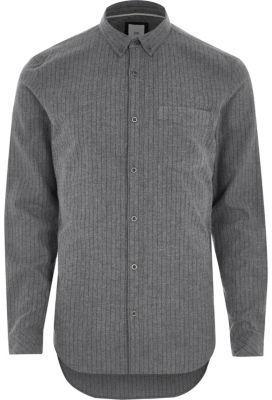 River Island Mens Grey stripe slim fit button-down shirt