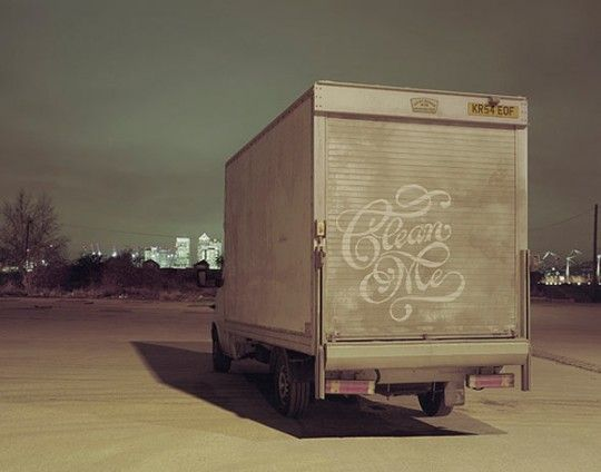 """Clean Me"" was one of the first self-promotional prints by lettering artist Alison Carmichael. At first sight you might think this is a painting. But Carmichael, together with art director Mark Denton and Photographers Sean & Ben projected the artwork on to the back of the van so Carmichael could trace it in the dirt with his fingerAlisoncarmichael, Cleanses, Cleaning, Art, Hands Letters, Alison Carmichael, Types, Typography, Design"