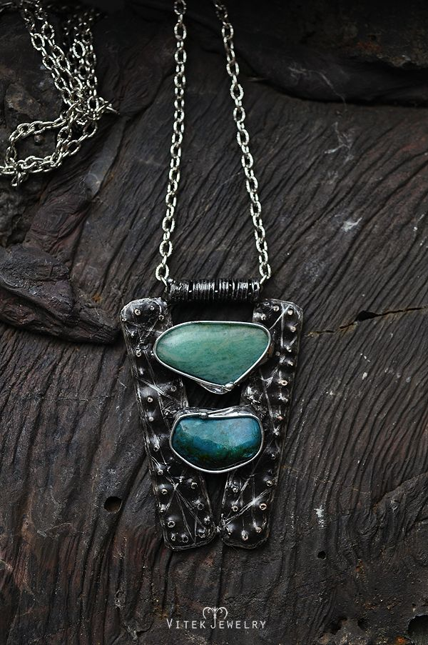 "Lacus Magna 'means ""great lakes"" in latin' Pendant necklace with chrysocolla and amazonite gemstones. By VitekJewelry"