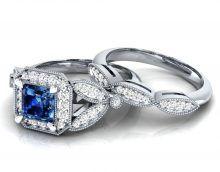 ct diamante rotondo e blu zaffiro set anello di fidanzamento diamond ring set 2017