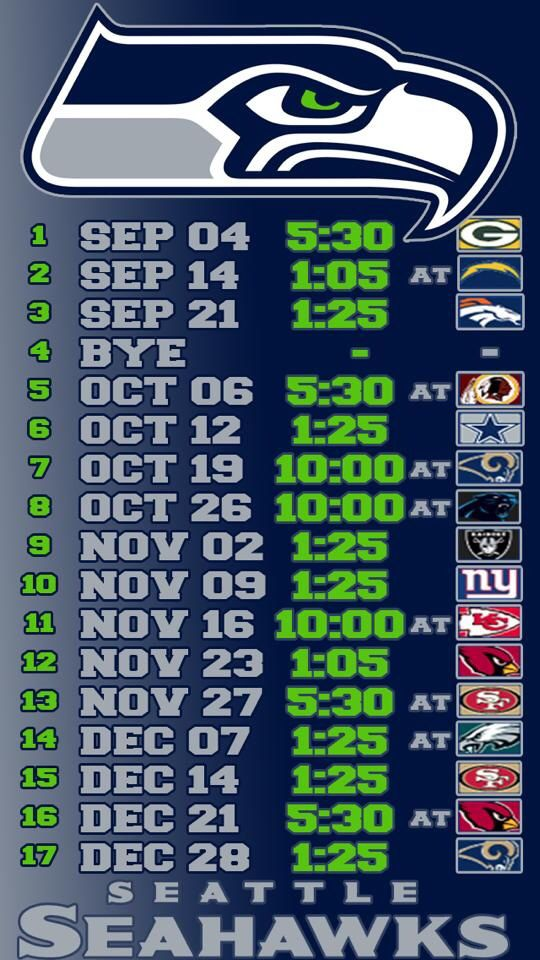 Seahawks schedule wallpaper for iphone 5.